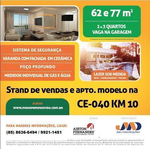 Apartamentos Novos de 62 e 77 m2 com 2 ou 3 quartos.