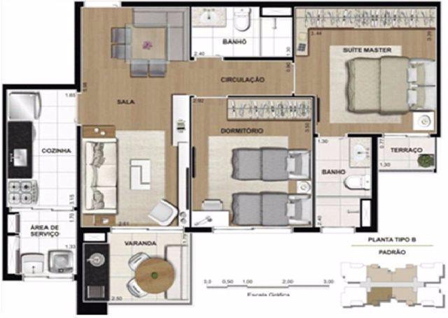 69m² - 01 e 02 dormitórios - Home Espaço Cerâmica